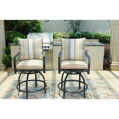 Swivel Metal Outdoor Bar Stool With Beige Cushion 2 Pack