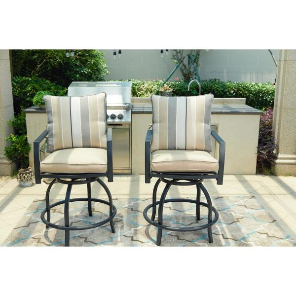 Admirable Outdoor Patio High Swivel Bistro Chair Set With Seat And Download Free Architecture Designs Ogrambritishbridgeorg