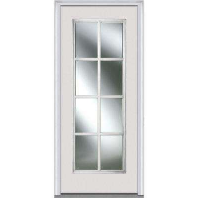 30 in. x 80 in. Simulated Divided Lites Right-Hand Full Lite Clear Classic Primed Fiberglass Smooth Prehung Front Door