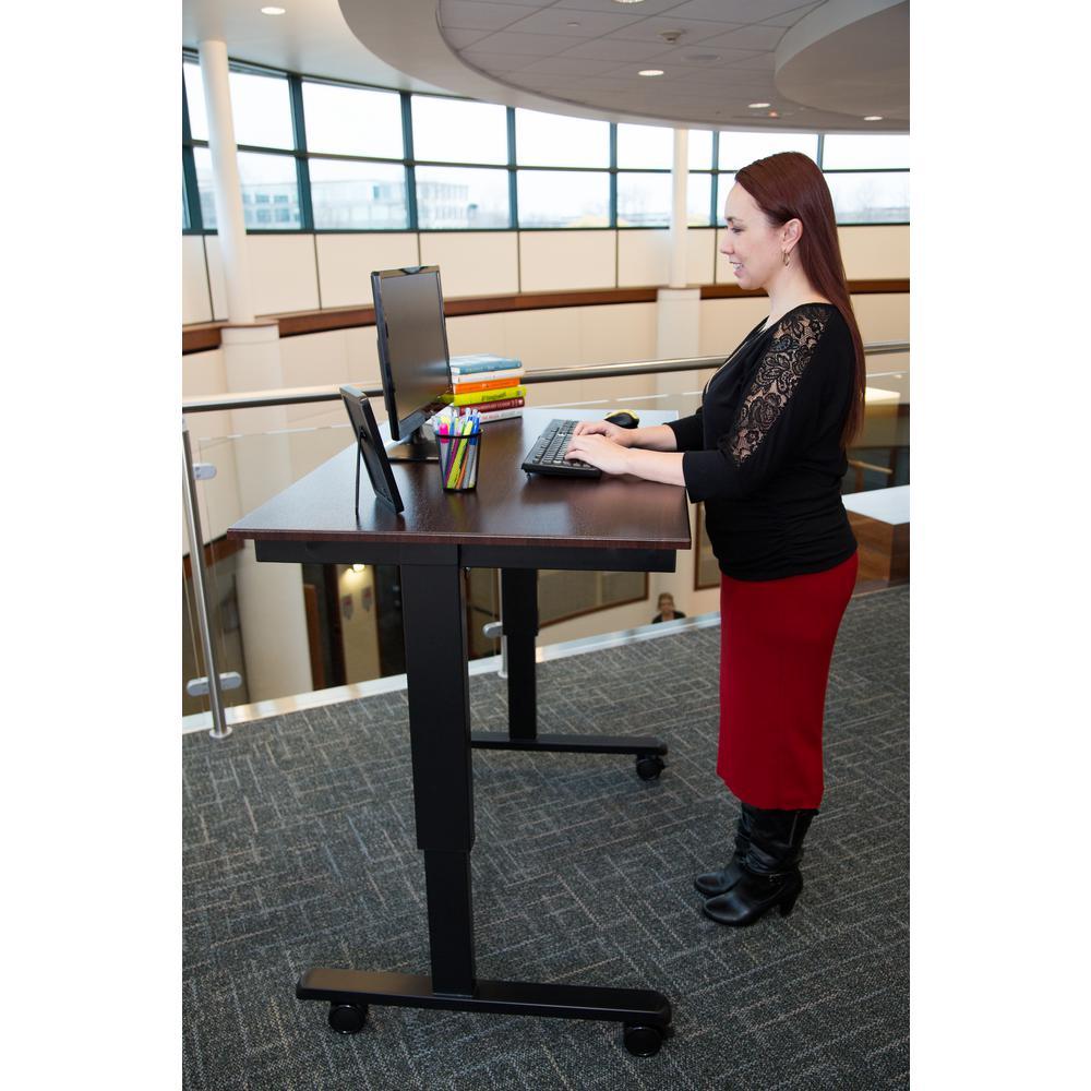 Luxor Black Desk With Wheels Stande 48 Bk Bo The Home Depot