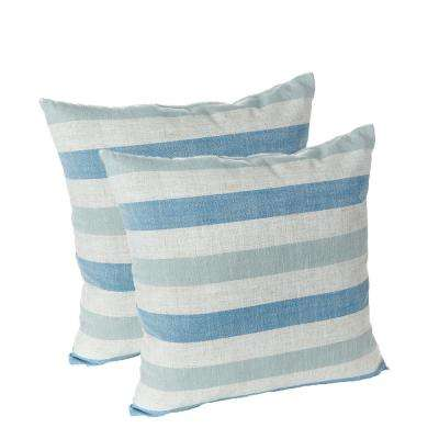 Liza Stripe Blue 18 in. x 18 in. Decorative Throw Pillows (Set of 2)