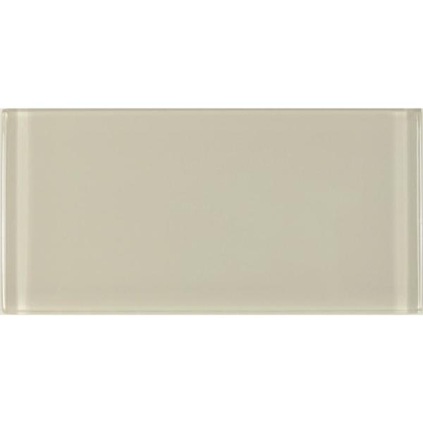 ABOLOS Subway 3 in. x 6 in. Rectangle Beige Taupe Glossy Glass Peel and Stick Decorative Bathroom Wall Tile Backsplash Sample