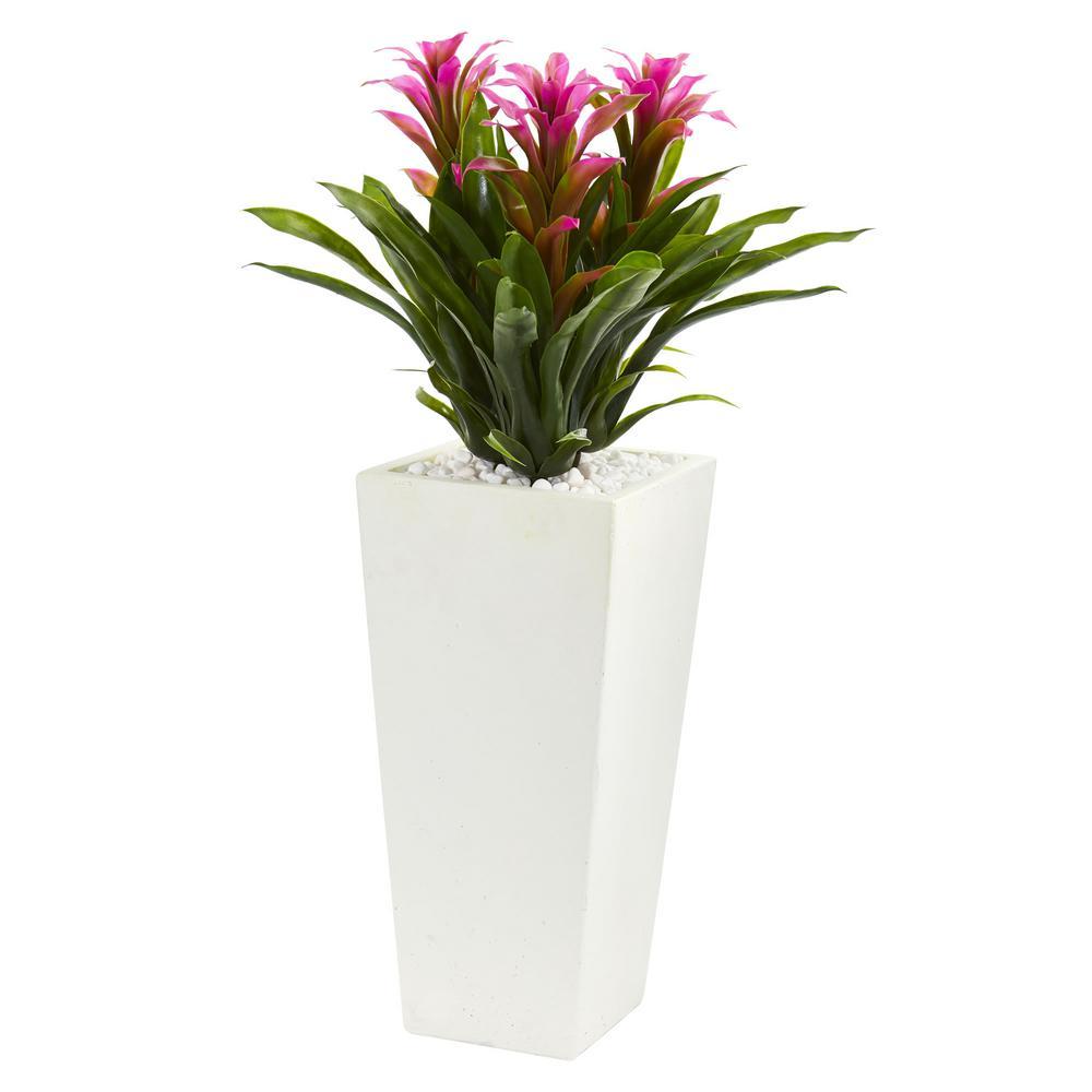 Triple Purple Bromeliad Artificial Plant in White Tower Planter