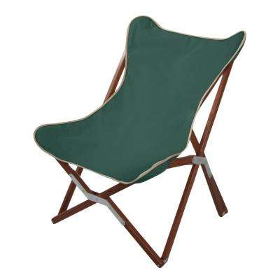 Butterfly Chair Pangean Natural Wood or Green Keruing Wood Folding Outdoor Lounge Chair