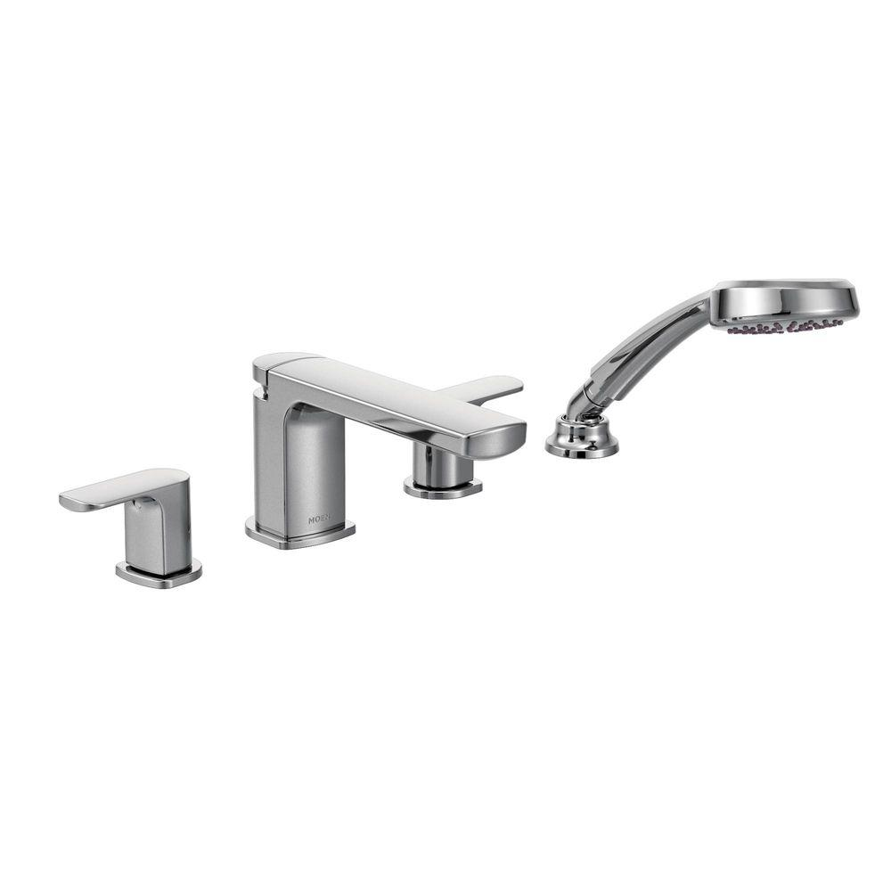 MOEN Rizon 2-Handle Deck-Mount Roman Tub Faucet Trim Kit with ...