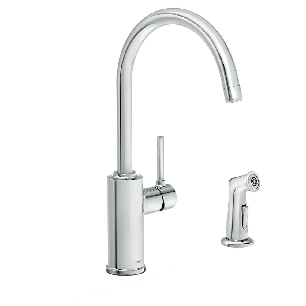 MOEN Sombra Single-Handle Standard Kitchen Faucet with Side Sprayer in  Chrome