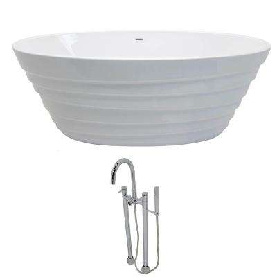 Nimbus 5.6 ft. Acrylic Classic Flatbottom Non-Whirlpool Bathtub in White with Sol Freestanding Faucet in Chrome