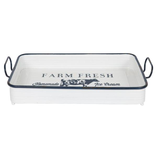 Kate and Laurel Daily White Decorative Tray 213046