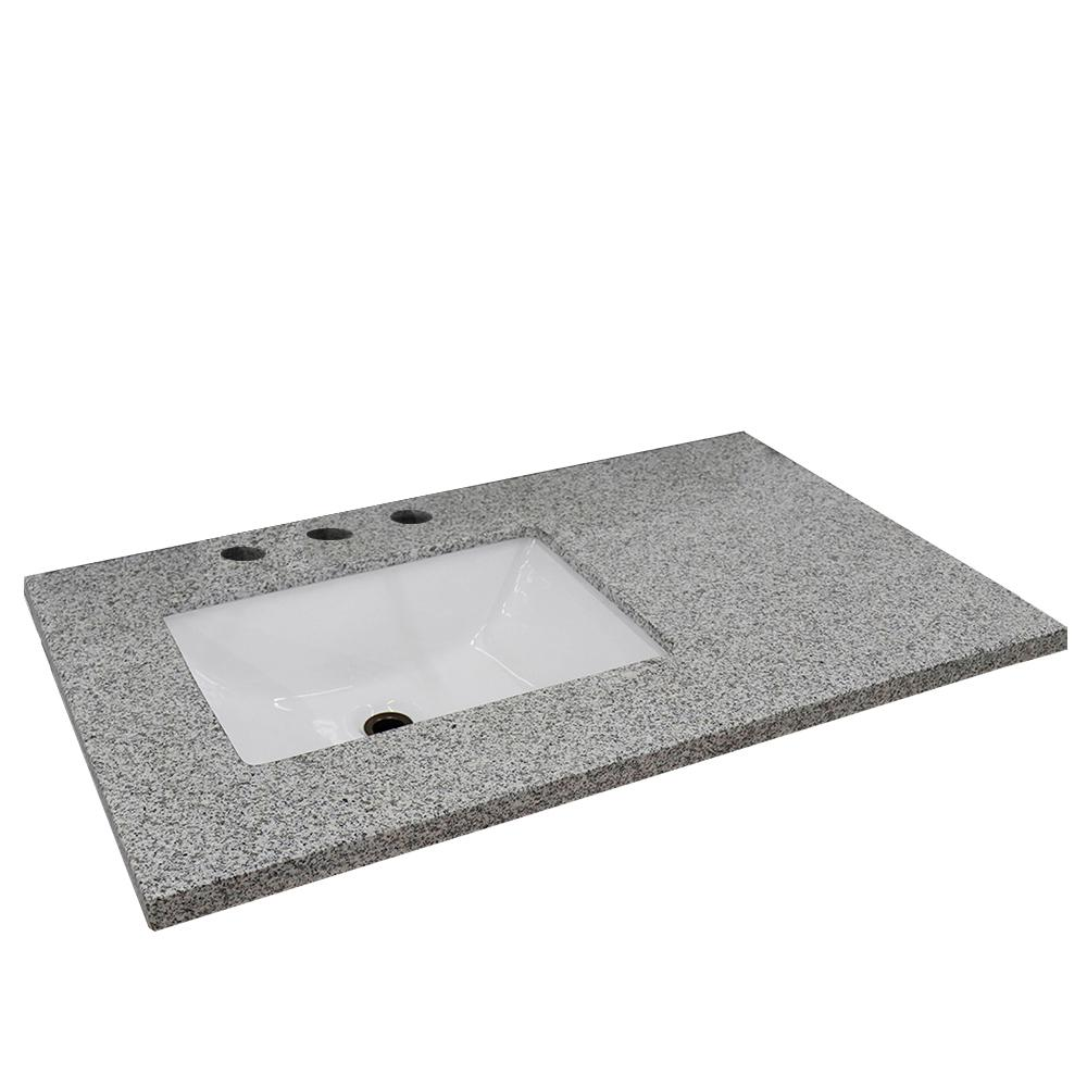 Miraculous Bellaterra Home 37 In W X 22 In D X 2 In H Gray Granite Vanity Top With Left Side Rectangular Sink Home Interior And Landscaping Eliaenasavecom