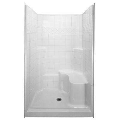 Standard 36.75 in. x 48 in. x 79.5 in. 3-piece Low Threshold Shower System in White with Right Side Seat