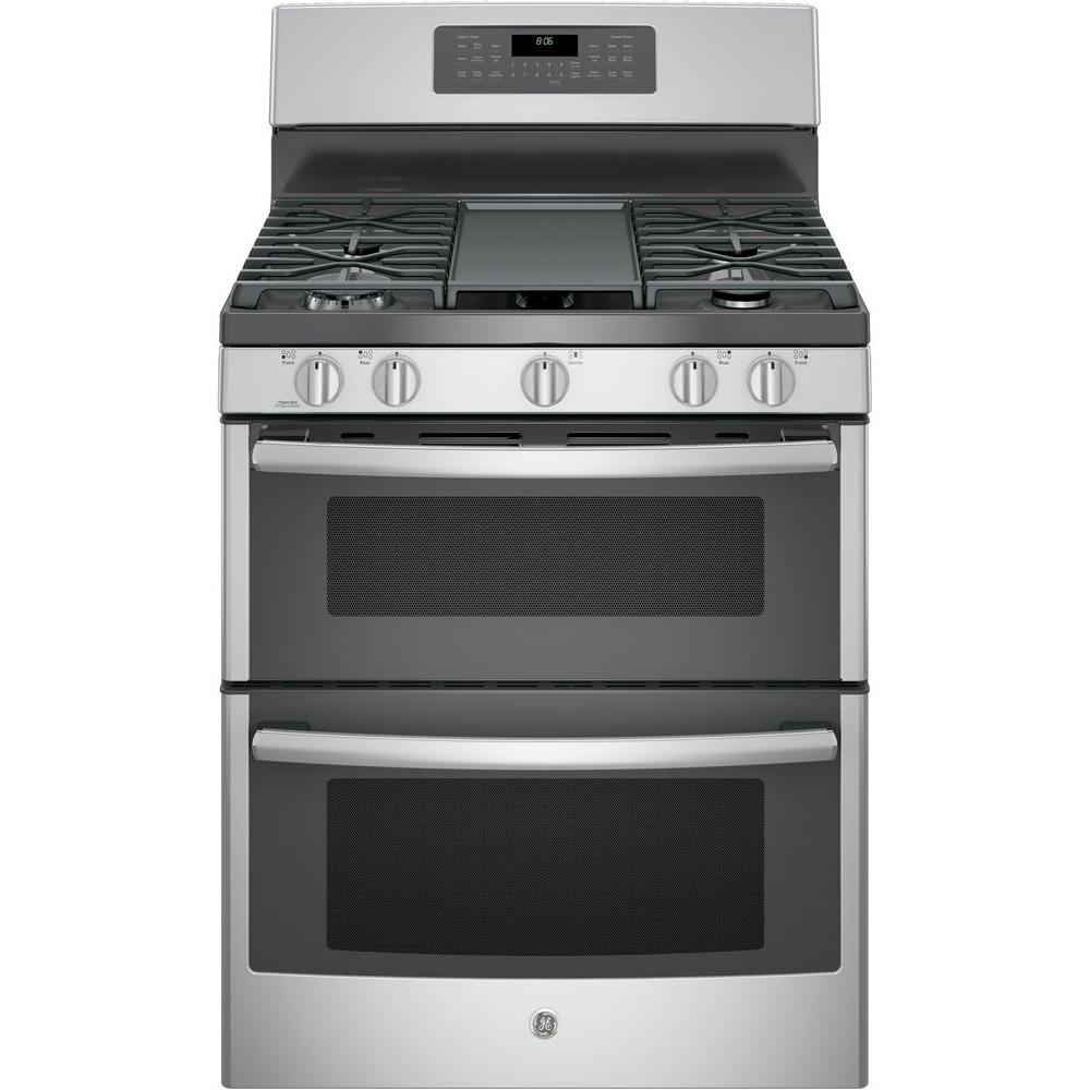 GE 6.8 cu. ft. Double Oven Gas Range with Self-Cleaning and Convection Lower Oven in Stainless Steel