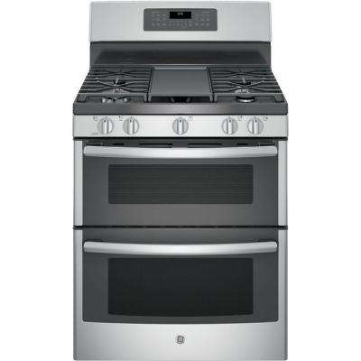6.8 cu. ft. Double Oven Gas Range with Self-Cleaning Convection Oven (Lower Oven) in Stainless Steel