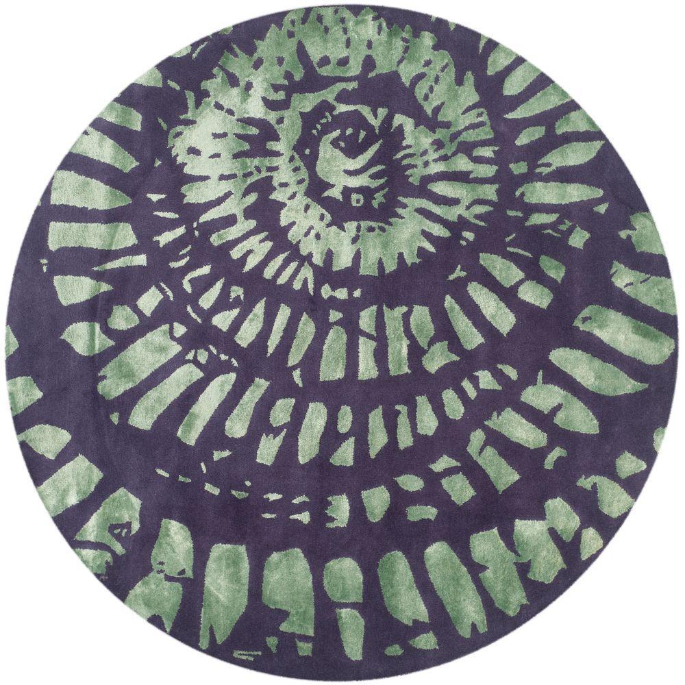 Safavieh Capri Lavender/Sage 7 ft. x 7 ft. Round Area Rug
