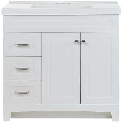 Thornbriar 37 in. W x 22 in. D Vanity in White with Cultured Marble Vanity Top in White with White Basin