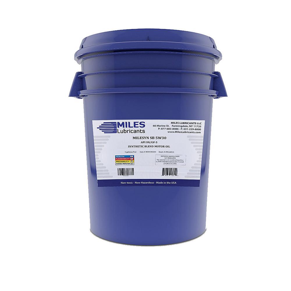 Miles Lubricants Milesyn SB 5W30 API GF-5/SN 5 Gal. Synthetic Blend Motor Oil Pail