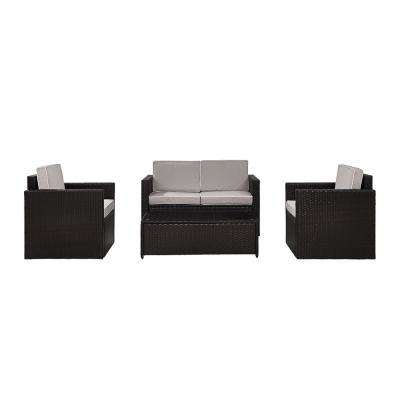 Palm Harbor 4-Piece Wicker Outdoor Seating Set with Grey Cushions - Loveseat, 2 Chairs and Glass Top Table