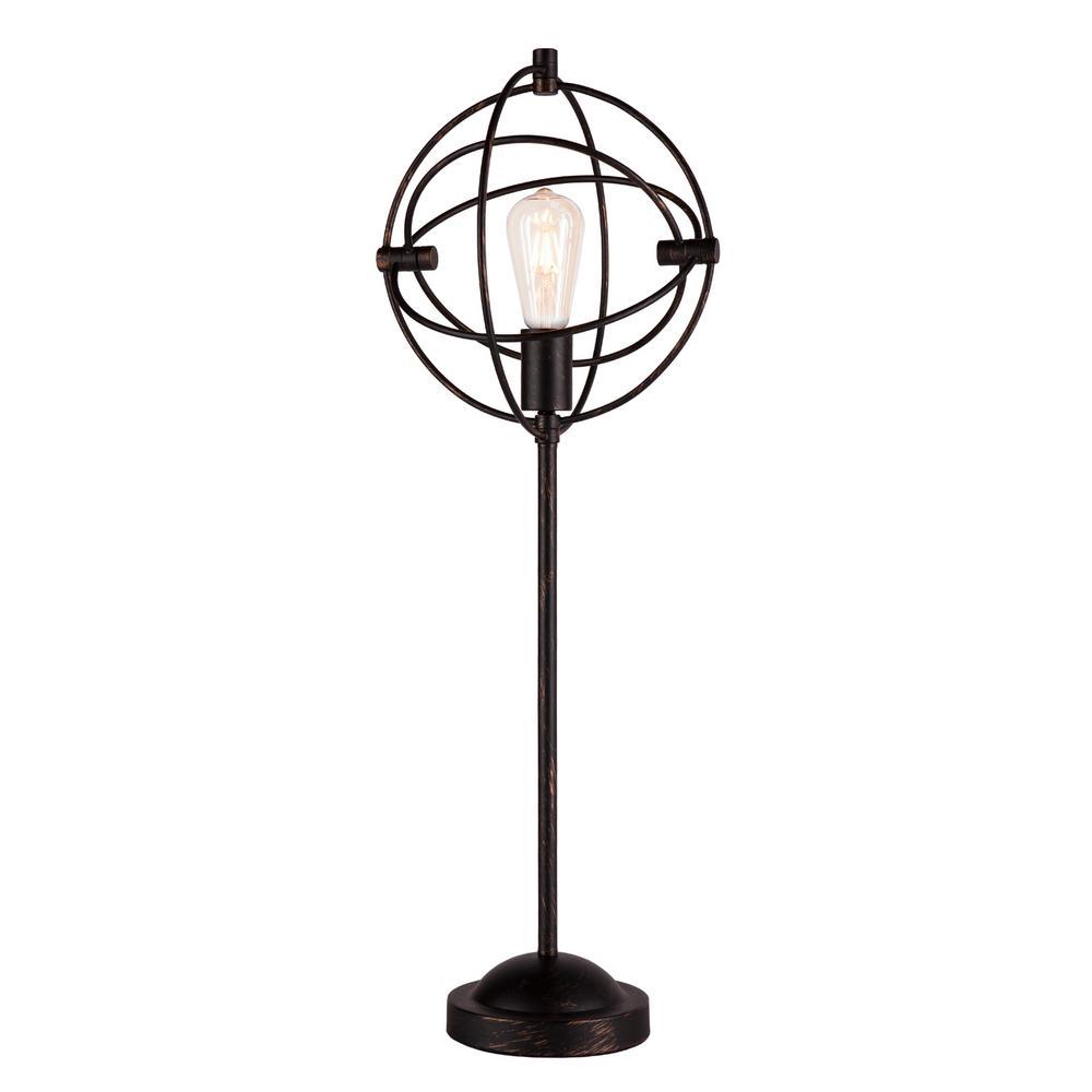 Billiam 30.75 in. Matte Black with Copper Table Lamp