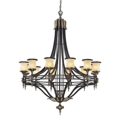 Georgian Court 12-Light Antique Bronze Ceiling Mount Chandelier