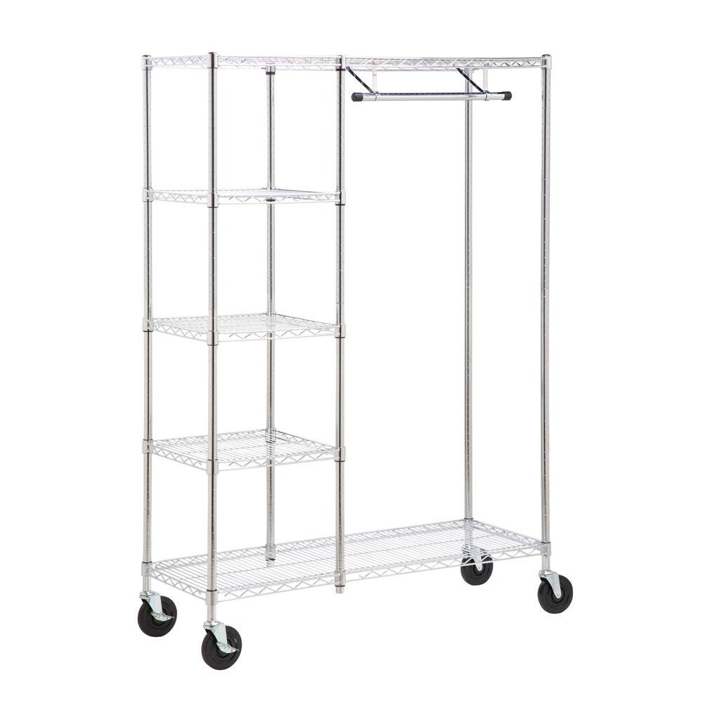 Superieur Honey Can Do Heavy Duty Steel Rolling Closet Rack In Chrome