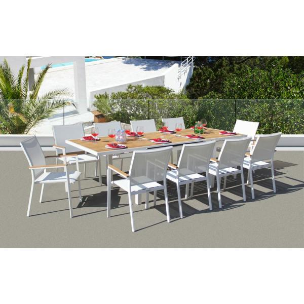 Essence White 11-Piece Aluminum Outdoor Dining Set with Sling Set in White
