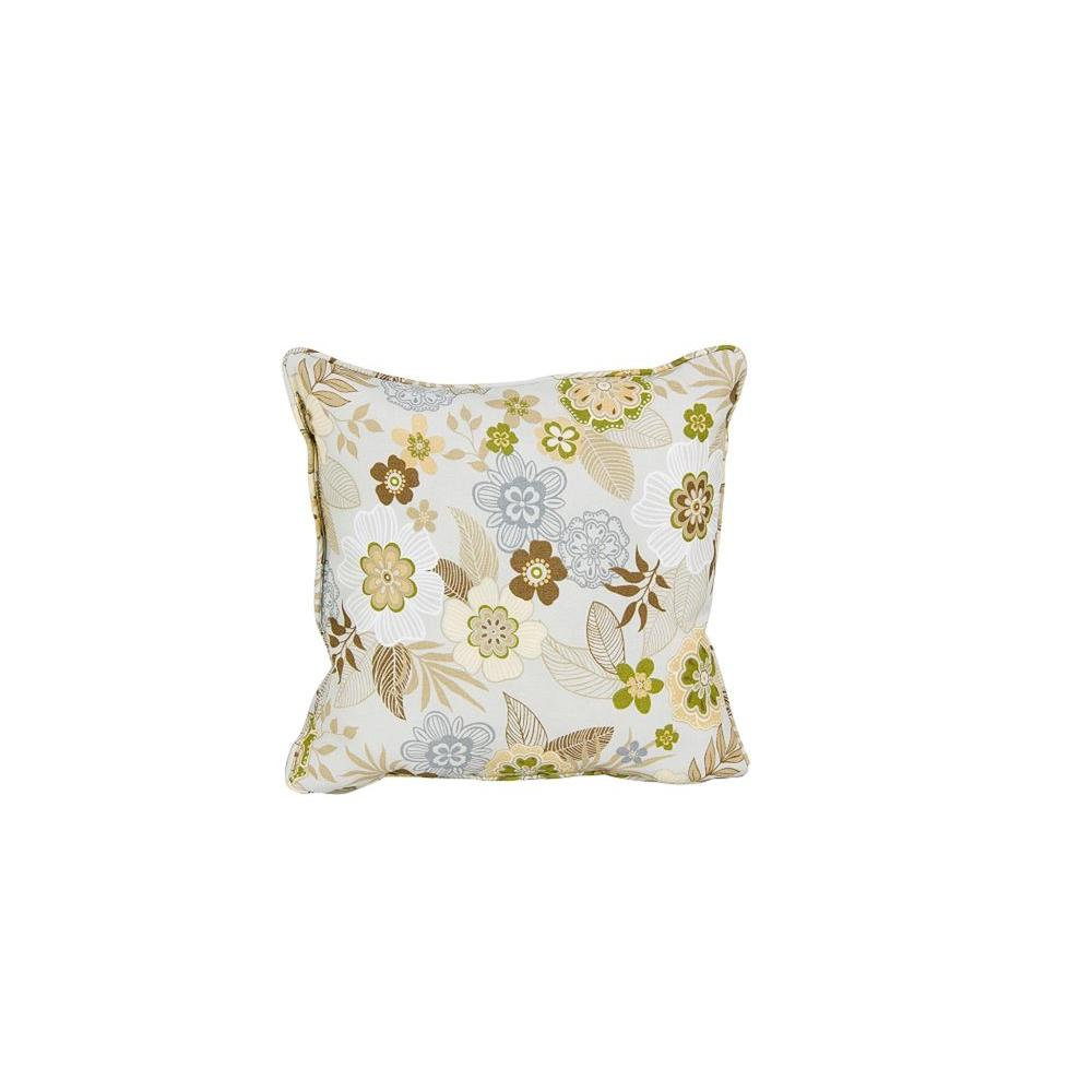 Martha Stewart Living Lily Bay Madrid Smoke Floral Outdoor Square Throw Pillow (2-Pack)