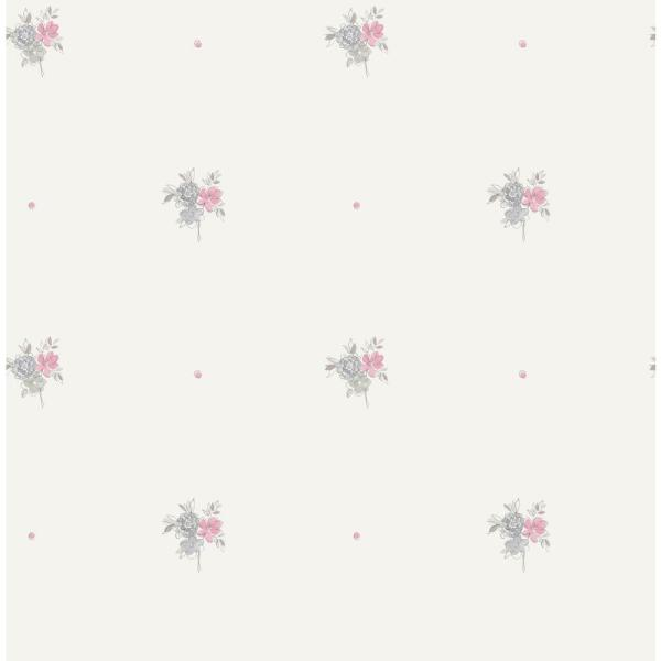 Wallquest Kids Little Posy Gray and Bubblegum Floral Wallpaper FA41508