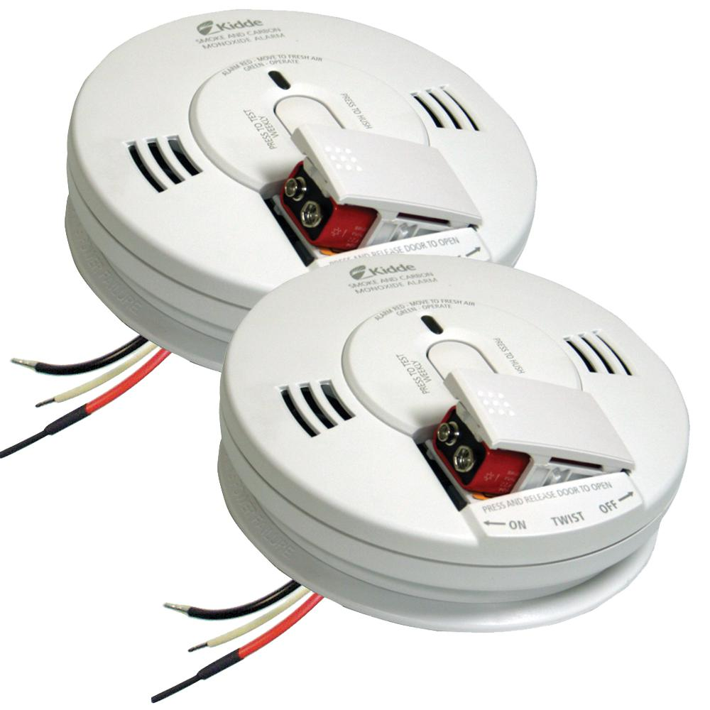 Kidde FireX Hardwire Smoke and Carbon Monoxide Combination Detector with 9-Volt Battery Backup and Voice Alarm (2-Pack)