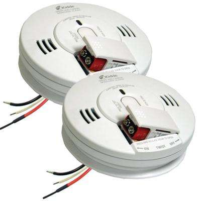 Hardwire Smoke and Carbon Monoxide Combination Detector with 9V Battery Backup and Voice Alarm (2-pack)