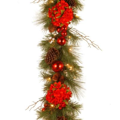 Decorative Collection 9 ft. Hydrangea Garland with Battery Operated Warm White LED Lights