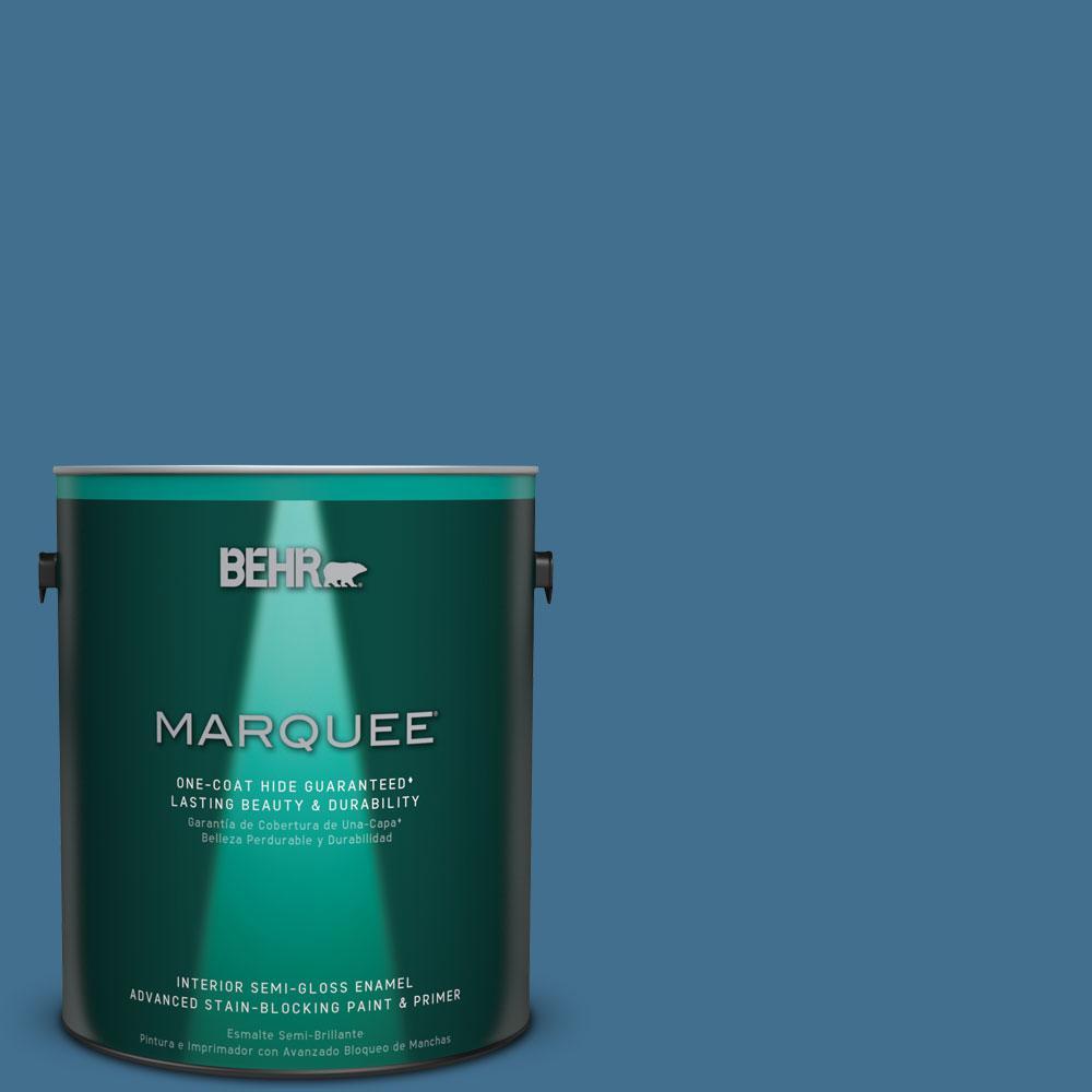 1 gal. #M500-5 Sojourn Blue One-Coat Hide Semi-Gloss Enamel Interior Paint