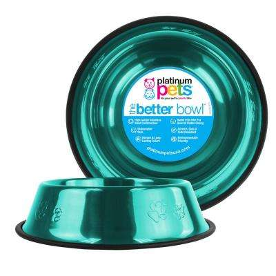 10 Cup Embossed Non-Tip Stainless Steel Dog Bowl, Caribbean Teal