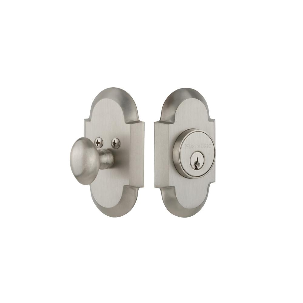 Cottage Plate 2-3/8 in. Backset Single Cylinder Deadbolt in Satin Nickel