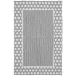 Garland Rug Polka Dot Frame Silver/White 2 ft. 6 inch x 3ft. 10 inch Accent Rug by Garland Rug