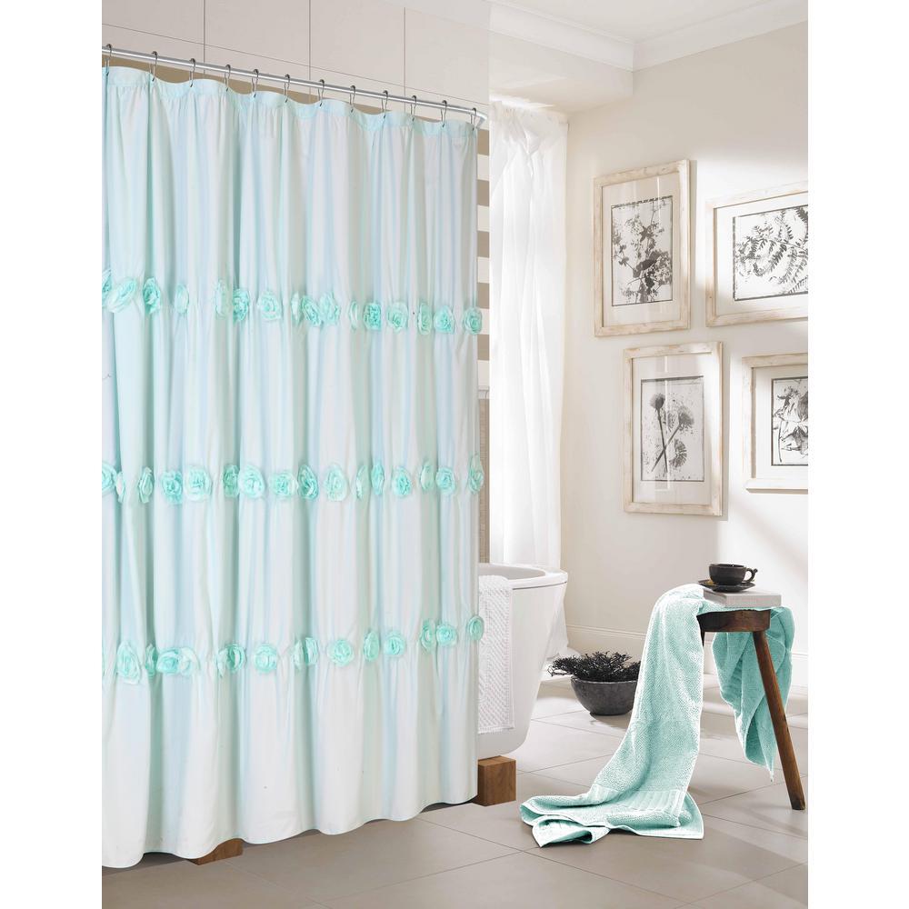Rosette 72 in. Aqua Shower Curtain