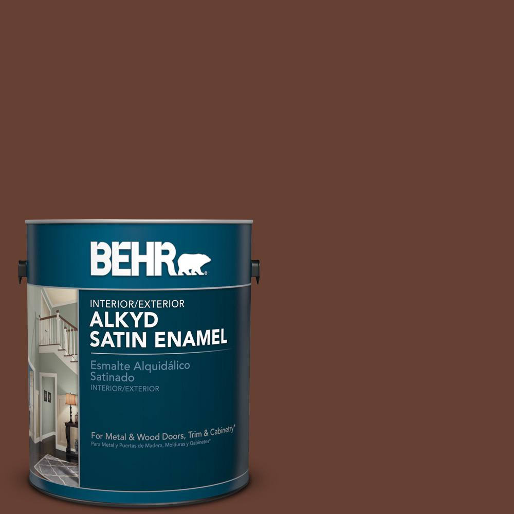 1 gal. #BXC-45 Classic Brown Satin Enamel Alkyd Interior/Exterior Paint