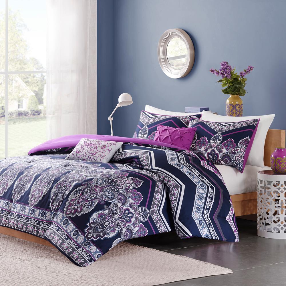 Kinley 5-Piece Purple Full/Queen Comforter Set