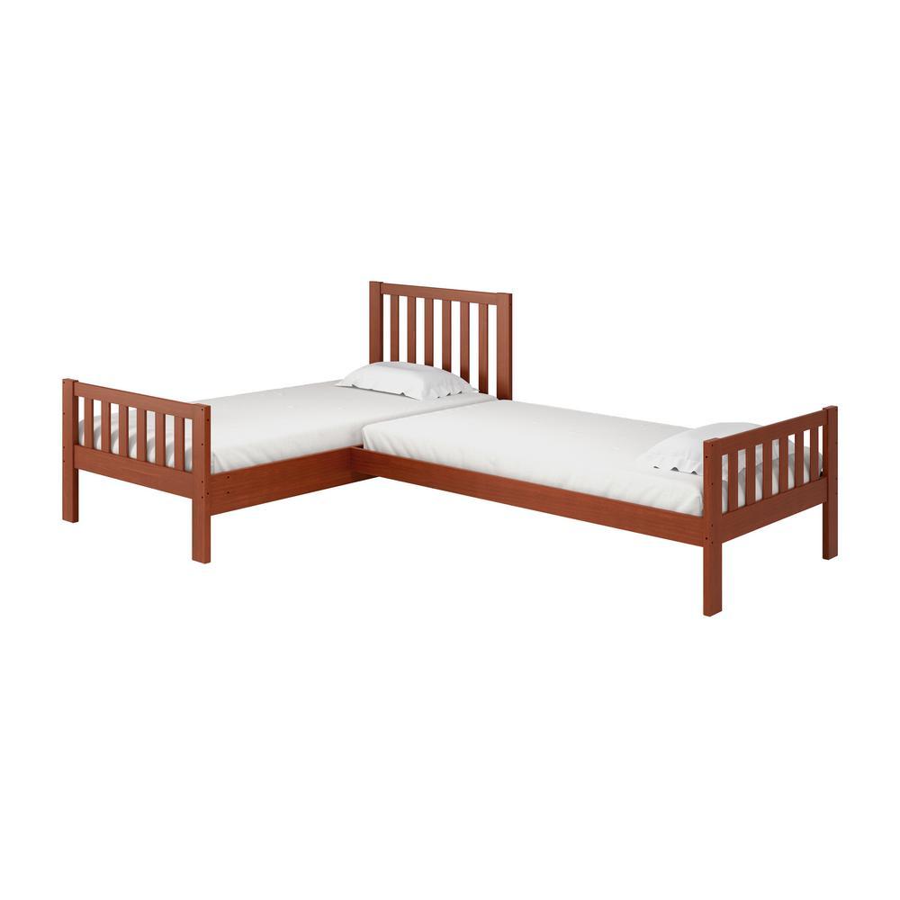 Aurora Chestnut Twin Corner Twin Wood Bed