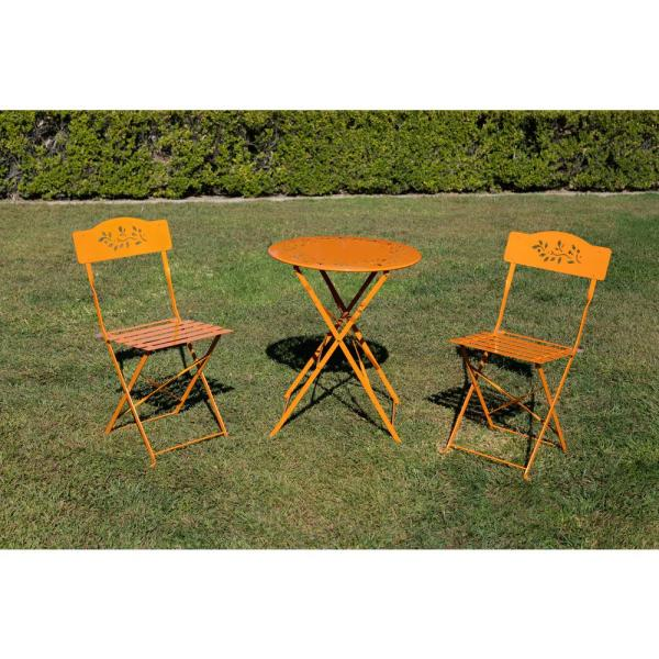 Orange 3-Piece Metal Chairs Outdoor Bistro Set 1-Round Table and 2-Chairs