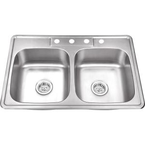 IPT Sink Company Drop-in 33 inch 4-Hole Stainless Steel Double Bowl Kitchen Sink in Brushed Stainless by IPT Sink Company
