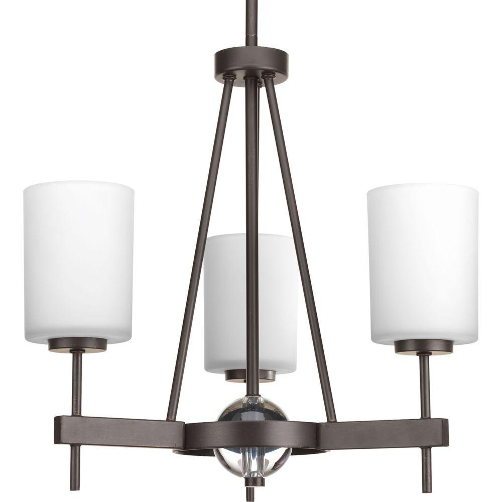 Compass Collection 3-Light Antique Bronze Chandelier with Shade with Opal Etched