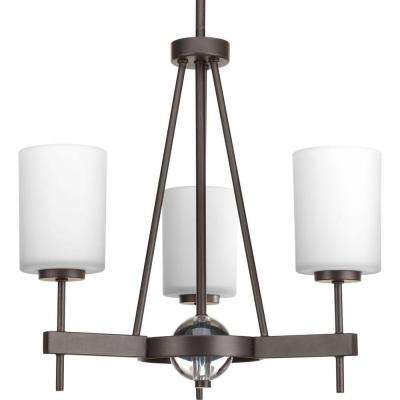 Compass Collection 3-Light Antique Bronze Chandelier with Shade with Opal Etched Glass Shade