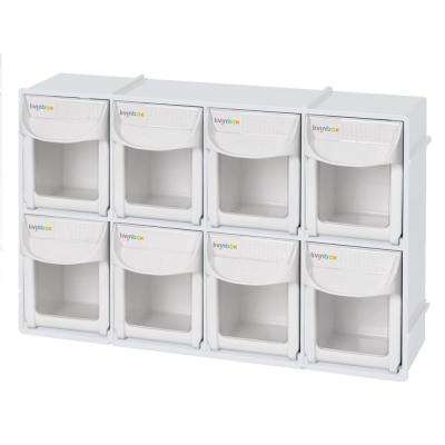 Ultimate Tip Out Series 12 in. Stackable Crafts and Hardware Organizer Plastic Storage Bin with 8-Small Compartments