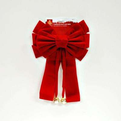Traditional Red Velvet Bow with Bell
