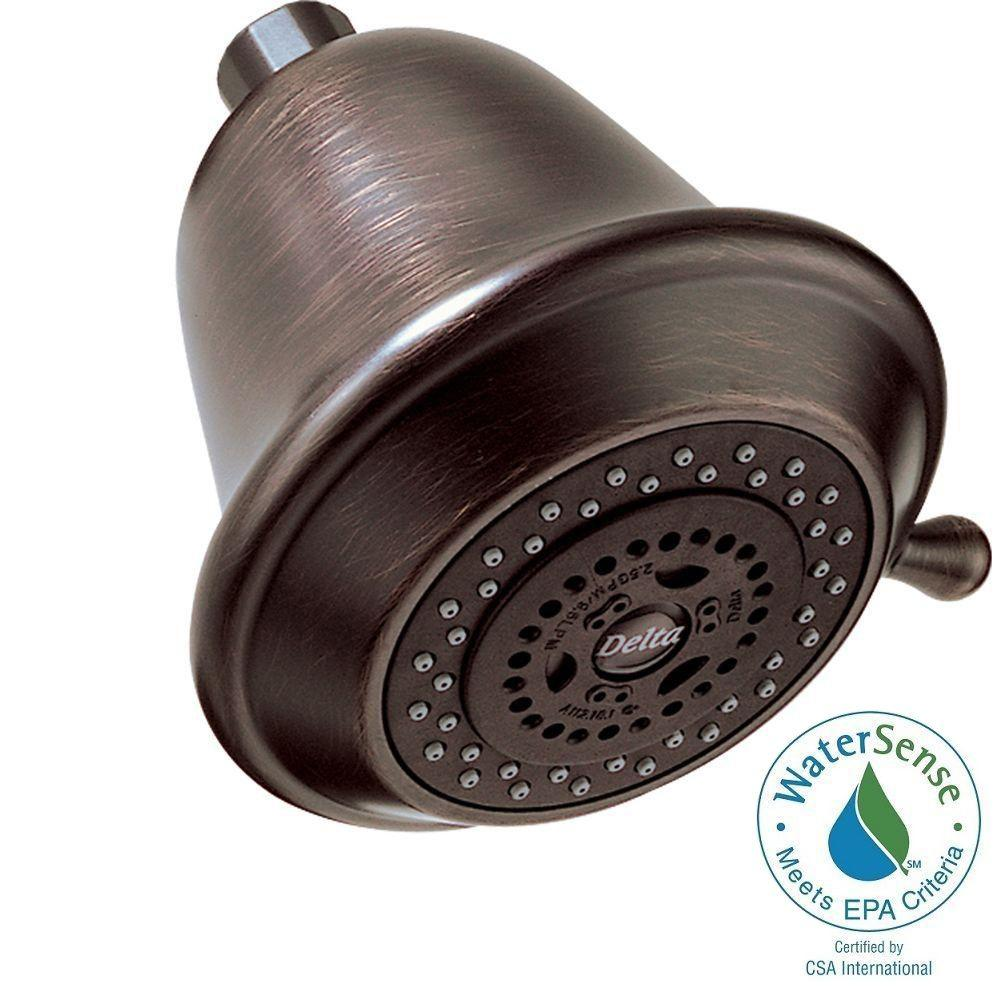 delta 3 setting 3 spray touch clean shower head in venetian bronze rp43381rb the home depot. Black Bedroom Furniture Sets. Home Design Ideas