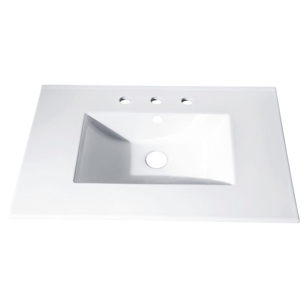 Vitreous China Vanity Top With Rectangular Bowl In White CUT31WT   The Home  Depot