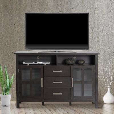 53 in. Dark Walnut TV Stand with 3 Drawer Fits TVs Up to 60 in. with Storage Glass Door