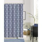 Jupiter 72 in. Blue Faux Linen Printed Shower Curtain