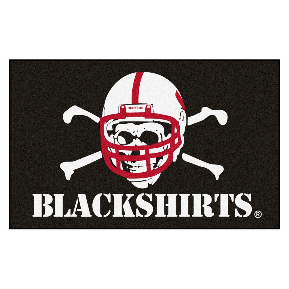 NCAA University of Nebraska - Black Shirts 5 ft. x 8 ft. Ulti-Mat Area Rug