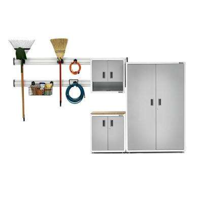 Ready-to-Assemble 72 in. H x 76 in. W x 18 in. D Steel Garage Cabinet and Wall Storage System in White (9-Piece)