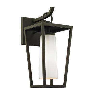 Mission Beach 1-Light Textured Black 13.5 in. H Outdoor Wall Mount Sconce with Opal White Glass